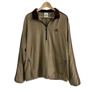 Vintage Adidas Windbreaker Pullover Jacket Size Large Tan Brown